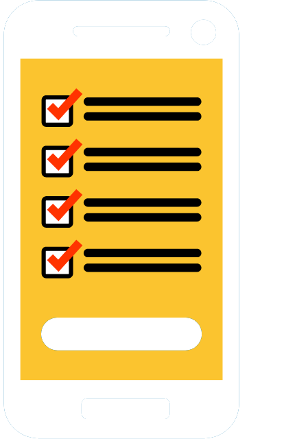 Icon of a phone with a checklist on the screen