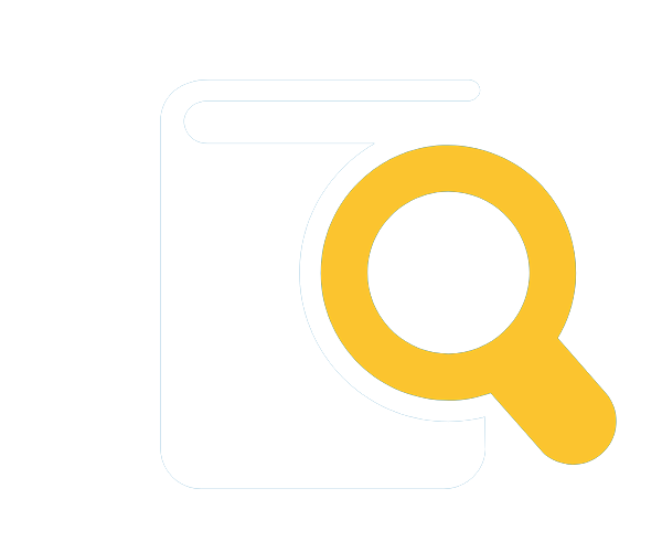 Icon of a book with a magnifying glass on top