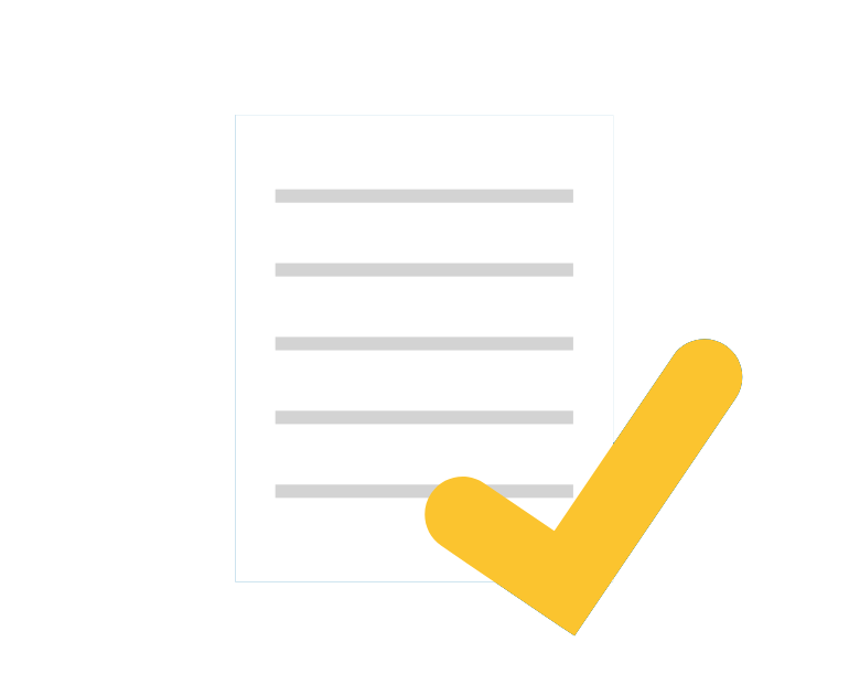 Icon of a paper with checkmark on top