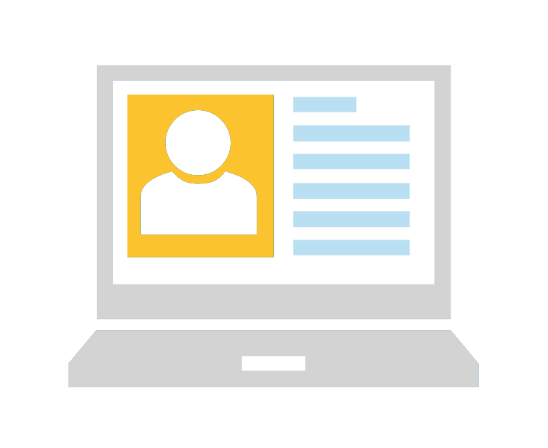 Icon of a computer, including profile photo and dummy text on screen