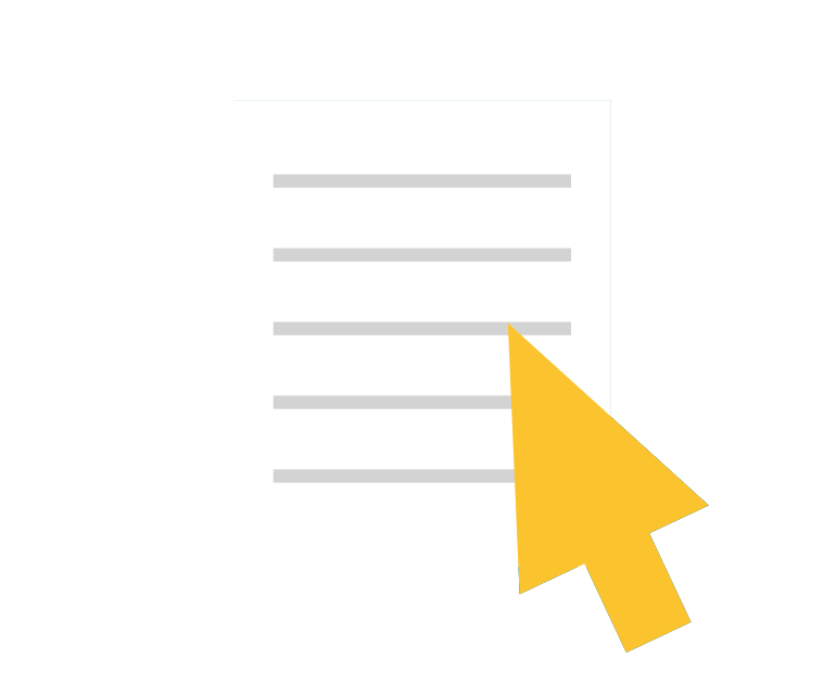 Icon of a paper with mouse pointer on top